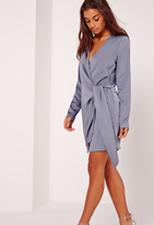 Missguided Silky Wrap Tie Waist Shirt Dress Blue