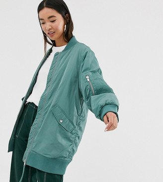 Monki longline bomber jacket in green