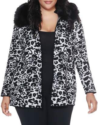 Belldini Plus Faux-Fur Collar Jacquard Cardigan