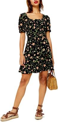 Topshop Floral Print Button Minidress