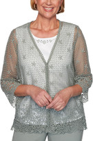Alfred Dunner Women's Cardigans SAGE - Sage Floral Crochet Lace Layered Sweater - Women, Petite & Plus