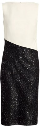 St. John Glittering Sequin Rib-Knit Sheath Dress