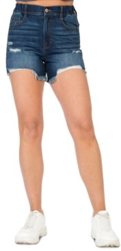 Rewash Juniors' Retro Wedge Denim Shorts