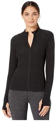 Beyond Yoga Spacedye Fitted Mock Neck Jacket (Darkest Night) Women's Coat