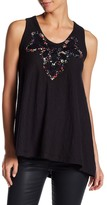 Anna Sui Pansy Print Trimmed Tank