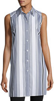Joan Vass Striped Button-Front Tunic, White/Black