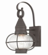 """Livex Lighting 27001-07 Newburyport - 14.75"""" One Light Outdoor Wall Lantern, Finish with Fluted Clear Glass"""