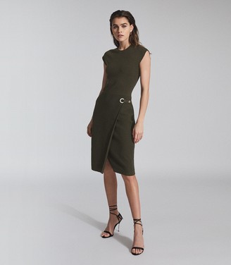 Reiss THEA KNITTED BODYCON DRESS Green
