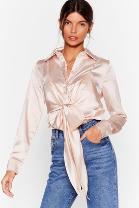 Nasty Gal Womens Cami for Love Satin Tie Blouse - Pink - S, Pink