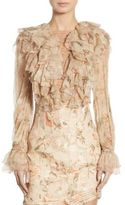 Zimmermann Bowerbird Ruffled Lace-Up Silk Blouse
