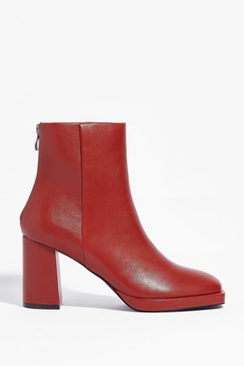 Nasty Gal Womens Faux Leather Say Faux Leather Heeled Ankle Boots - Cognac