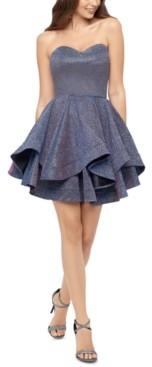 Blondie Nites Juniors' Strapless Double-Ruffle Hem Dress