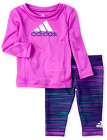 adidas Newborn/Infant Girls) Two-Piece Performance Logo Top & Printed Leggings Set