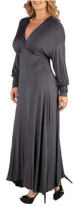 24Seven Comfort Apparel Formal Long Sleeve Plus Size Maxi Dress