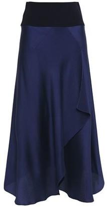 Roland Mouret Draped Hammered Silk-blend Satin Midi Skirt