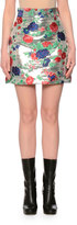 MSGM Metallic Rose Brocade Skirt, Silver/Multicolor