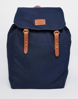 Asos Backpack In Navy Canvas