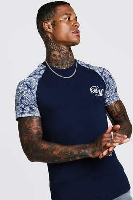 boohoo B&M Muscle Fit Embroidered Paisley Print T-Shirt