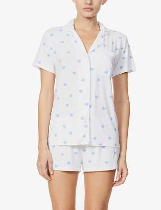 Stripe & Stare Heart-print stretch-jersey pyjama set