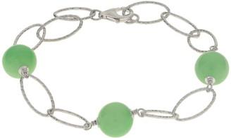 Pearlustre By Imperial Gems For You Sterling Silver Textured Link Jade Bead Station Bracelet