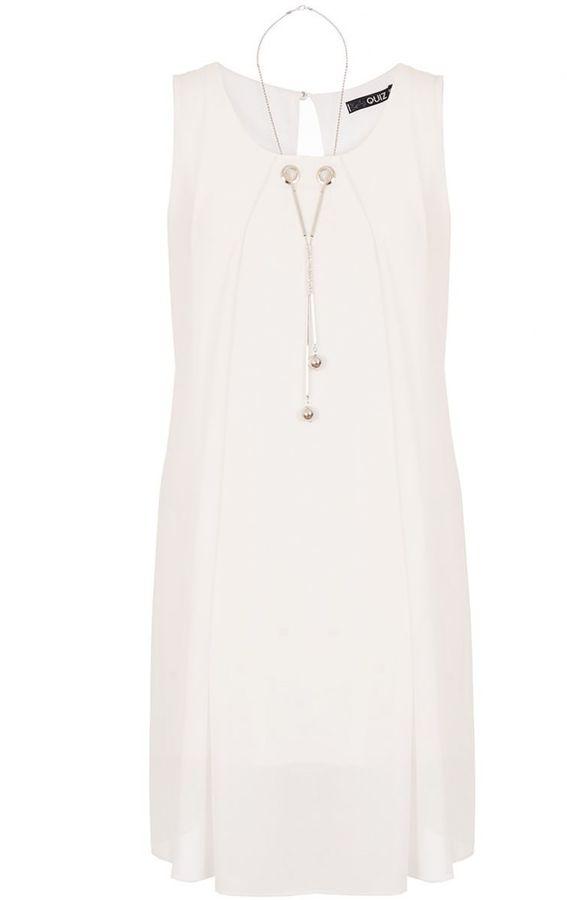 Quiz Cream Chiffon Necklace Tunic Dress