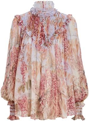 Zimmermann Botanica Smocked Floral Silk Blouse