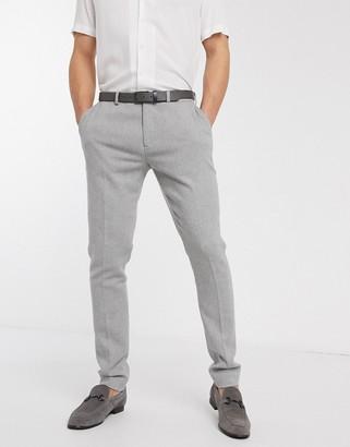 Asos Design DESIGN super skinny smart trousers in light grey dog tooth