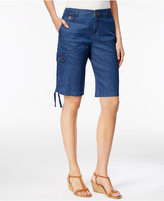Style&Co. Style & Co Petite Ruched-Hem Chambray Cargo Bermuda Shorts, Created for Macy's