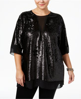 Melissa McCarthy Trendy Plus Size Sequined Top