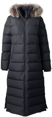 Lands' End Petite Faux-Fur Hood Quilted Long Down Winter Coat