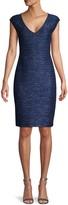 St. John Cap-Sleeve Tweed Sheath Dress