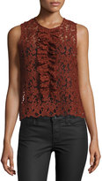Romeo & Juliet Couture Lace Ruffled Crop Top, Rust