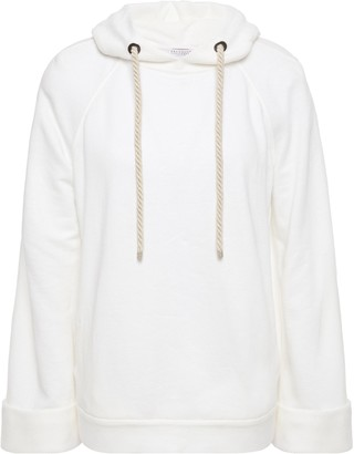 Brunello Cucinelli Bead-embellished Linen And Cotton-blend Fleece Hoodie