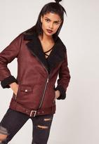 Missguided Burgundy Faux Suede Shearling Lined Aviator Biker Jacket