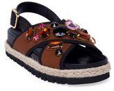 Marni Embellished Crisscross Strap Espadrille Sandals