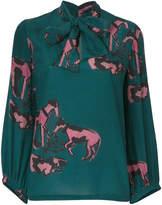 L'Autre Chose printed blouse with neck tie