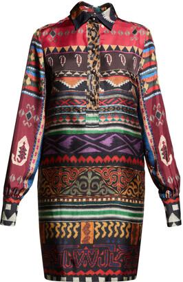 Etro Geo Animal-Print Silk Shirtdress