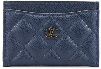 Chanel Card Holder Quilted Iridescent Caviar Blue