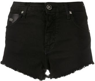 John Richmond Faux Leather Patch Shorts