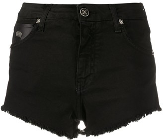 John Richmond faux leather patch shorts
