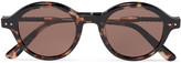 Bottega Veneta Round-Frame Leather-Trimmed Tortoiseshell Acetate Sunglasses