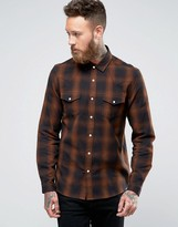 Asos Western Shirt With Shadow Check In Brown