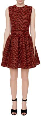 Maje Reali Basket-Stitched Fit--Flare Dress