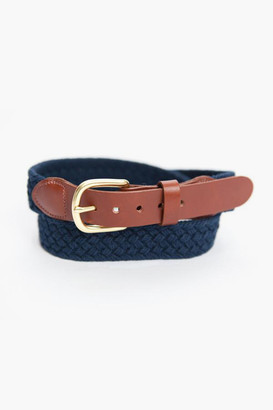 Gents Leather Man Ltd Navy Macrame Tab & Buckle Belt
