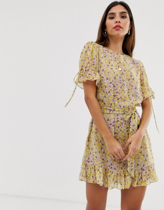The East Order arlo floral mini dress with belt-Purple