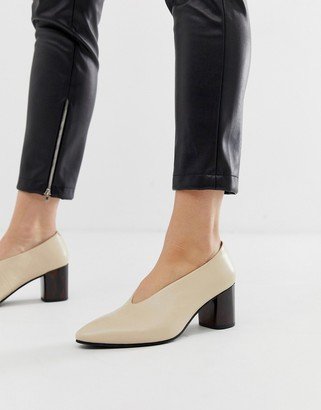 Vagabond eve leather high vamp block heeled shoes-Orange