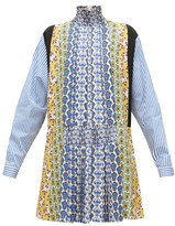 Prada Smocked High-neck Floral-print Panelled Mini Dress - Womens - Blue Multi