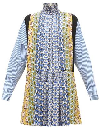Prada Smocked High-neck Floral-print Panelled Mini Dress - Blue Multi