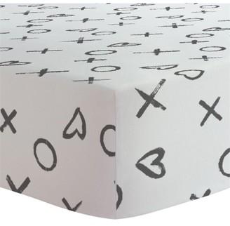 Kushies Flannel Crib Sheet - Black / White XO