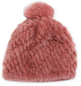 Pologeorgis Knitted Fur Hat w/ Pompom